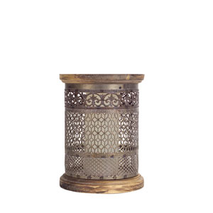 Antique Gold Tin Punch Candle Holder