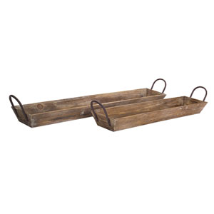 Brown Wooden Tray with Handles, Set of Two
