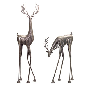 Antique Silver Tall Metallic Deer, Set of Two