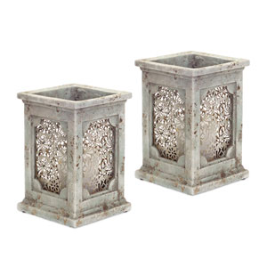 Stone-look Teal and Gray Candle Holders, Set of Two