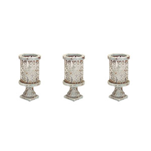 Stone-look Teal and Gray Pedestal Candle Holder, Set of Three
