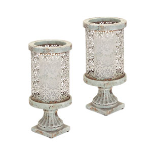 Stone-look Teal and Gray Pedestal Candle Holder, Set of Two