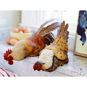Hen and Rooster Shelf Sitter, Set of Two