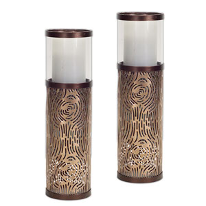 Brown Candle Holder, Set of Two
