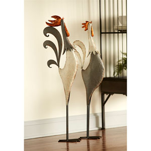 Rooster Figurine, Set of Two