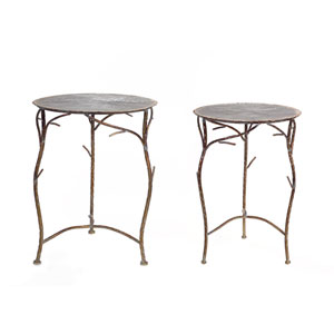 Bronze Side Tables, Set of Two