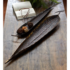 Bronze Leaf Trays, Set of Two