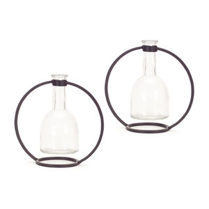 Hanging Vase in Circle Stand, Set of Two