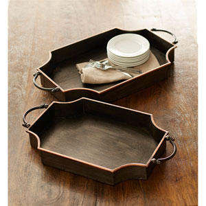 Black and Copper Trays, Set of Two