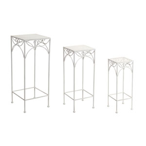 White Plant Stands, Set of Three