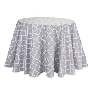 Gray and White Table Cloth