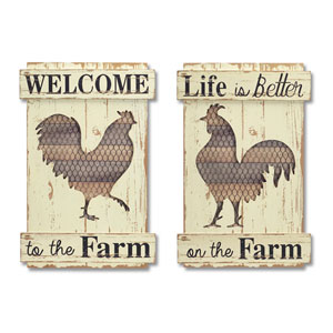 Rooster Cut-Out Wall Plaque, Set of Two