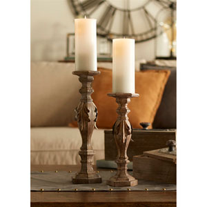 Beige and Brown Candle Holders, Set of Two