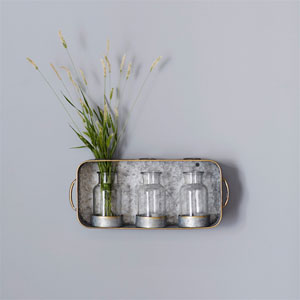 Tin Tray with Three Jars, Set of Two