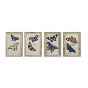 Framed Butterfly Print, Set of Four