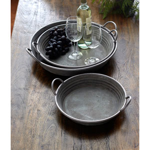 Gray Round Trays, Set of Three