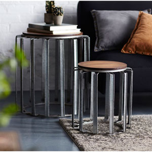 Gray and Brown Side Tables, Set of Two