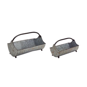 Tin Carrying Trays, Set of Two