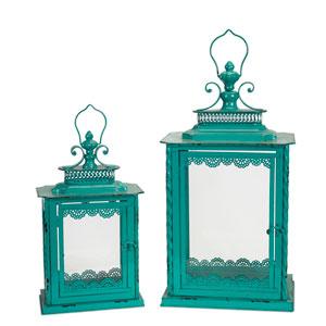 Teal Lanterns, Set of Two