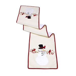 Snowman with Cardinal Table Runner, Set of Two