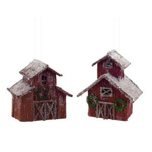 Barn Ornament, Set of Six