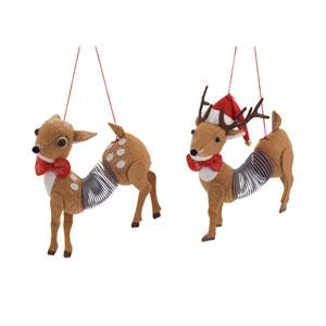 Slinky Deer Ornament, Set of Twelve