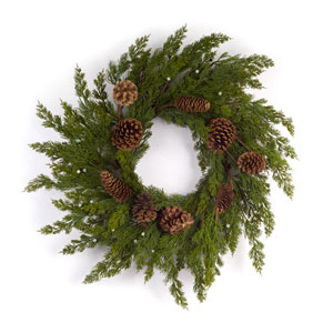 Pine with Cone 26 In. Wreath