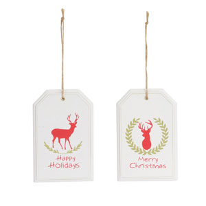 Tag Ornament with Deer, Set of 24