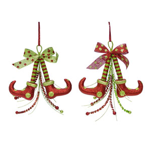 Elf Shoe Ornament, Set of Twelve
