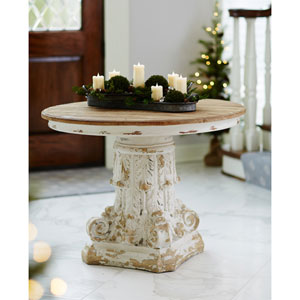 Brown and White 30 In. H Round Table