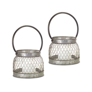 Gray and Clear Short Candle Holder, Set of Two