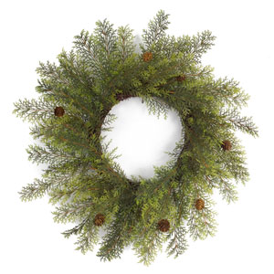Cypress Wreath with Cone, Set of Two