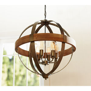 Brown and Pewter Orb Six-Light Pendant