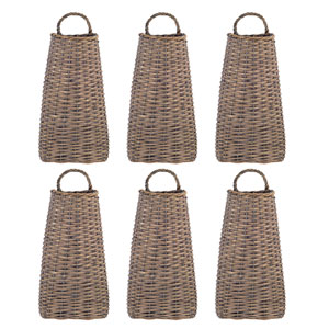 Brown Tall Wall Basket, Set of Six