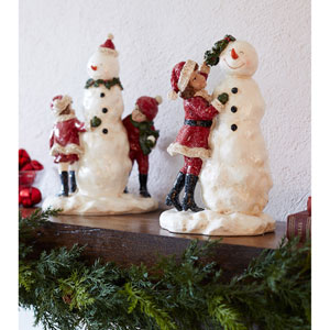 Snowman with Children, Set of Two