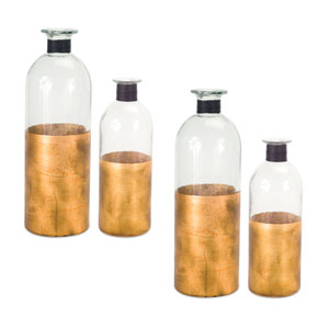 Clear and Copper Bottle, Set of Four