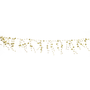 Gold Pearl Bead Garland Metallic Gold, Set of 12