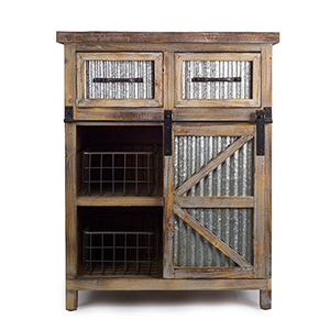 Brown and White 39-Inch Cabinet with Baskets