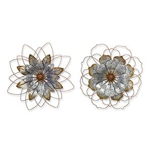 Tin Rustic Flower, Set of 2