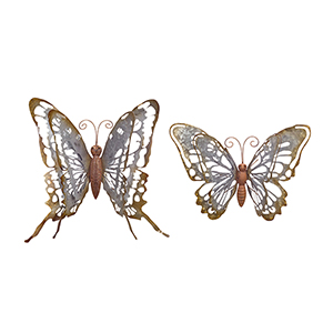 Tin Rustic 15-Inch Butterfly, Set of 2