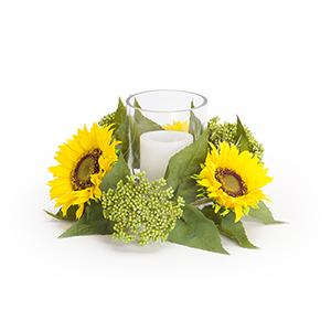 Yellow and Green Sunflower Sedum Candleholder