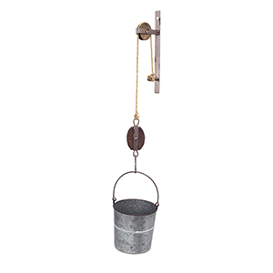 Brown Tin Pulley with Bucket