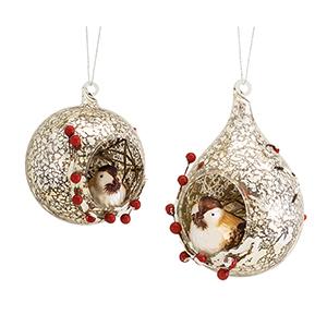 Chickadee in Open Ornament Assortment, Set of Six