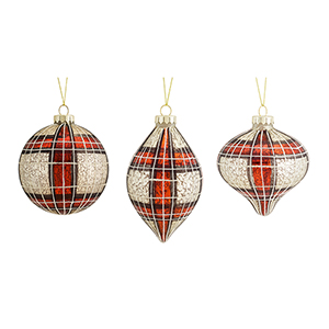 Red and White Plaid Ornament, Set of Six