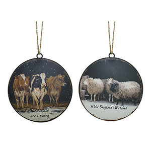 Sheep and Cow Disc Ornament, Set of 12
