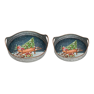 Wheelbarrow with Tree Tray, Set of Two
