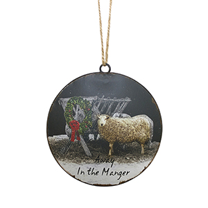 Sheep by Manger Disc Ornament, Set of 12