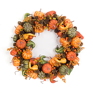 Orange and Green Pumpkin and Gourd Wreath