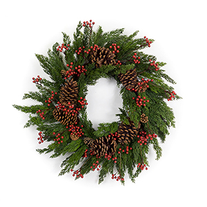 Pine and Berry 28 In. Wreath
