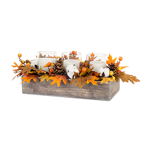 Fall Leaf and Cotton Candle Holder